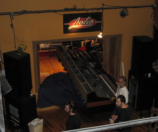 Moving the old Neve 8048 frame out of Loho for shipment to Kalle from TSOOL in Gothenburg Sweden.